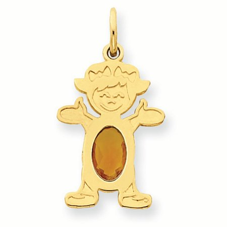 14K Yellow Gold 6 x 4 Oval Genuine Citrine November Birthstone Girl Charm Pendant