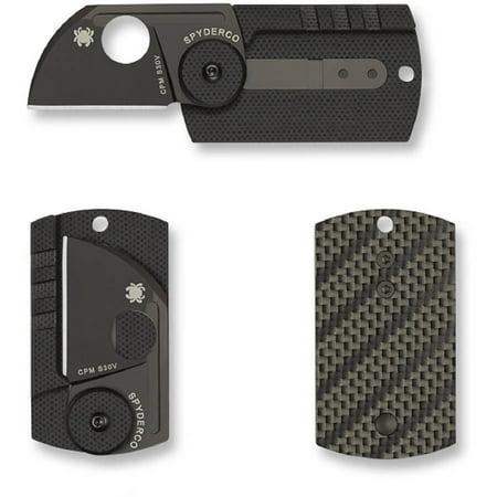 Spyderco Dog Tag Folder Carbon Fiber Black Blade PlainEdge Folding Knife ()