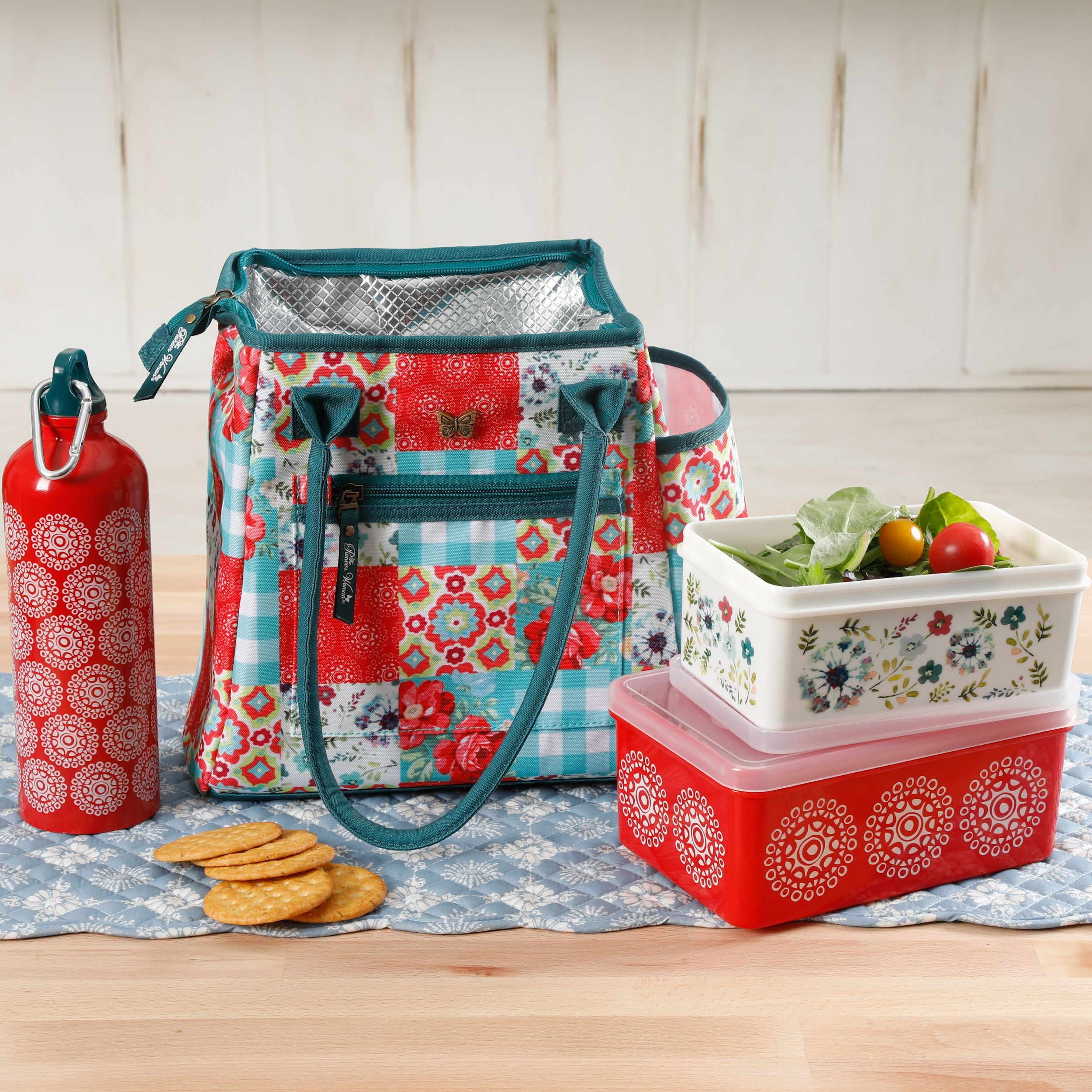 The Pioneer Woman Patchwork 4-Piece Lunch Combo Set