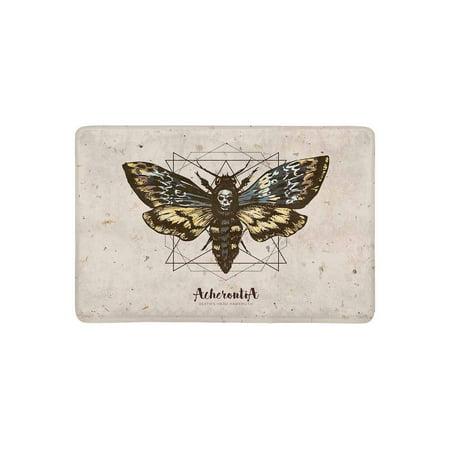MKHERT Psychedelic Death's Head Hawk Moth and Sacred Geometry Lines Doormat Rug Home Decor Floor Mat Bath Mat 23.6x15.7 inch