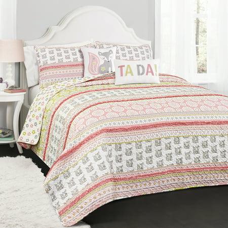 4pc Twin Fox Ruffle Stripe Quilt Set with Fox Throw Pillow Pink/Gray - Lush Décor
