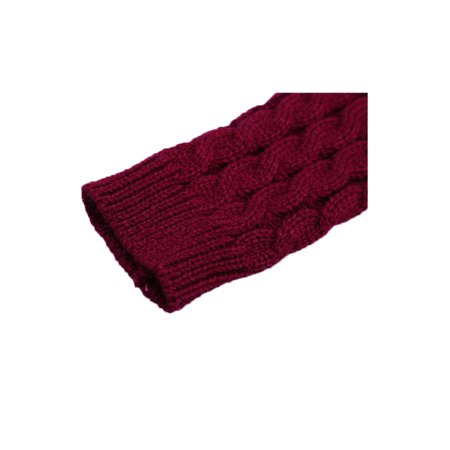 Unisex Winter Lace Warmers Ribbing Thumb Hole Gloves Burgundy 1 Pair - image 1 of 7