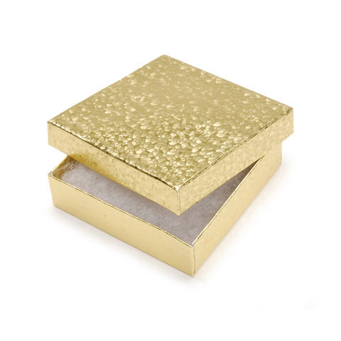 Jewlery Gift Boxes: 6 Gold, 3-1/2 x 3-1/2 x 7/8 inch