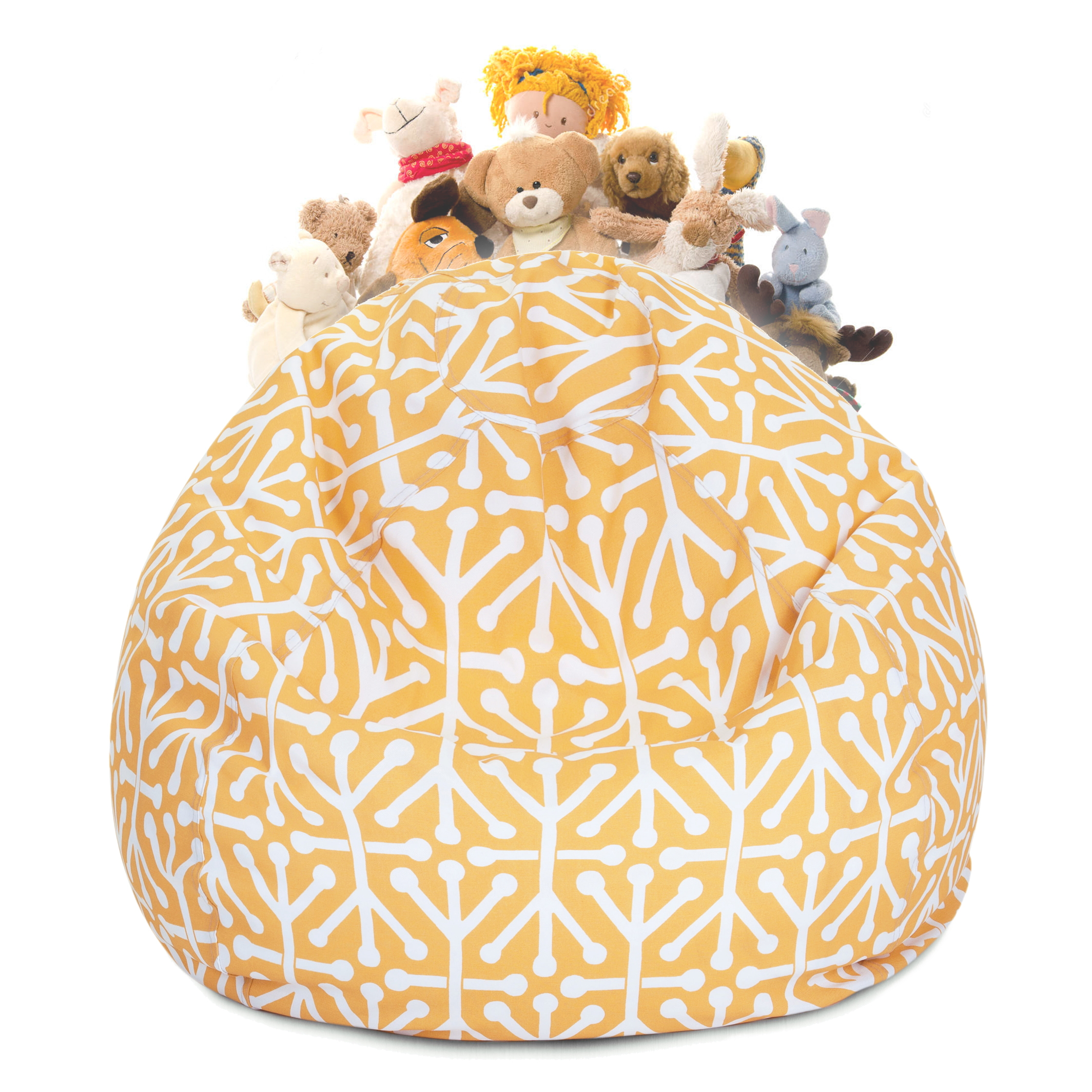Majestic Home Goods Aruba Stuffed Animal Storage Bean Bag Chair Cover with Transparent Mesh Base, Multiple Colors