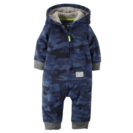 Carters Infant Boys Blue Camo Hooded Fleece Jumpsuit Coverall Outfit