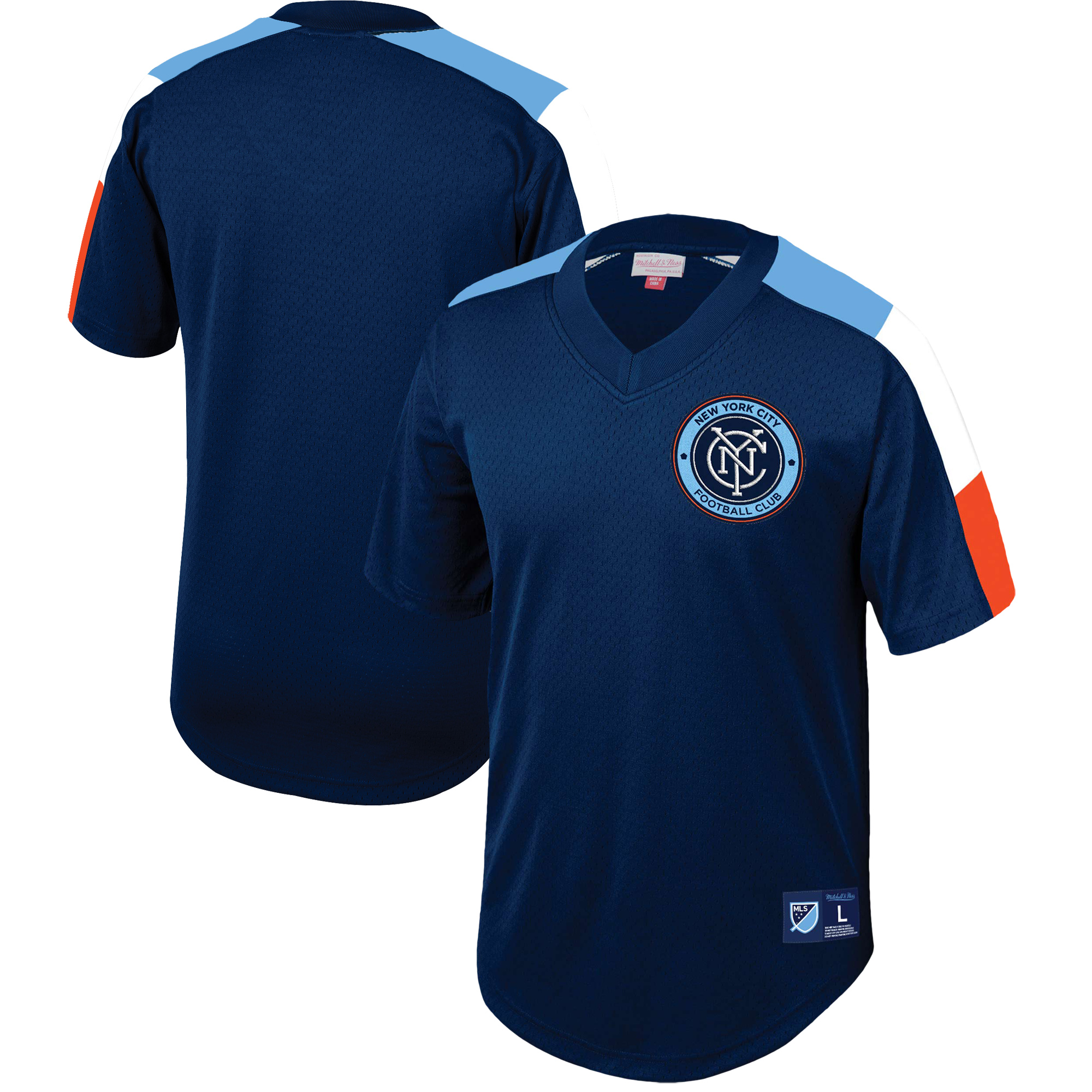 New York City FC Mitchell & Ness Mesh V-Neck Jersey - Blue