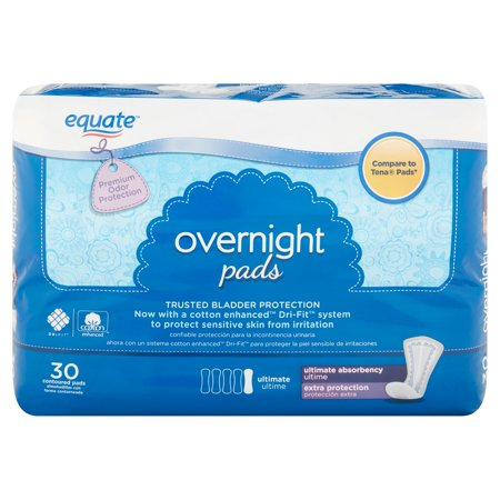 Equate Overnight Ultimate Absorbency Pads  30 Ct