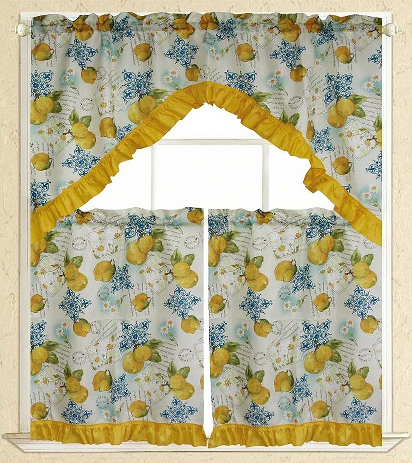 "Elegance Linen Embroidered 3-Piece Kitchen Curtain Window Treatment Set 2-Tiers : 30""... by"