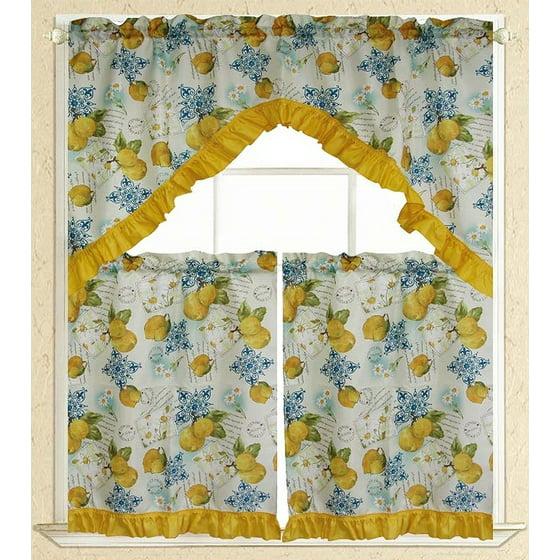 Hamilton 3 Piece Kitchen Curtain Set Available In 4: Elegance Linen® Embroidered 3-Piece Kitchen Curtain Window