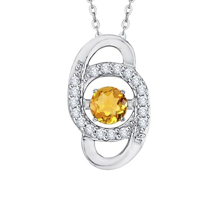 - Prong Set Diamond and Moving Citrine Pendant Necklace in 14K White Gold (1/2 cttw, G-H, I2/I3)