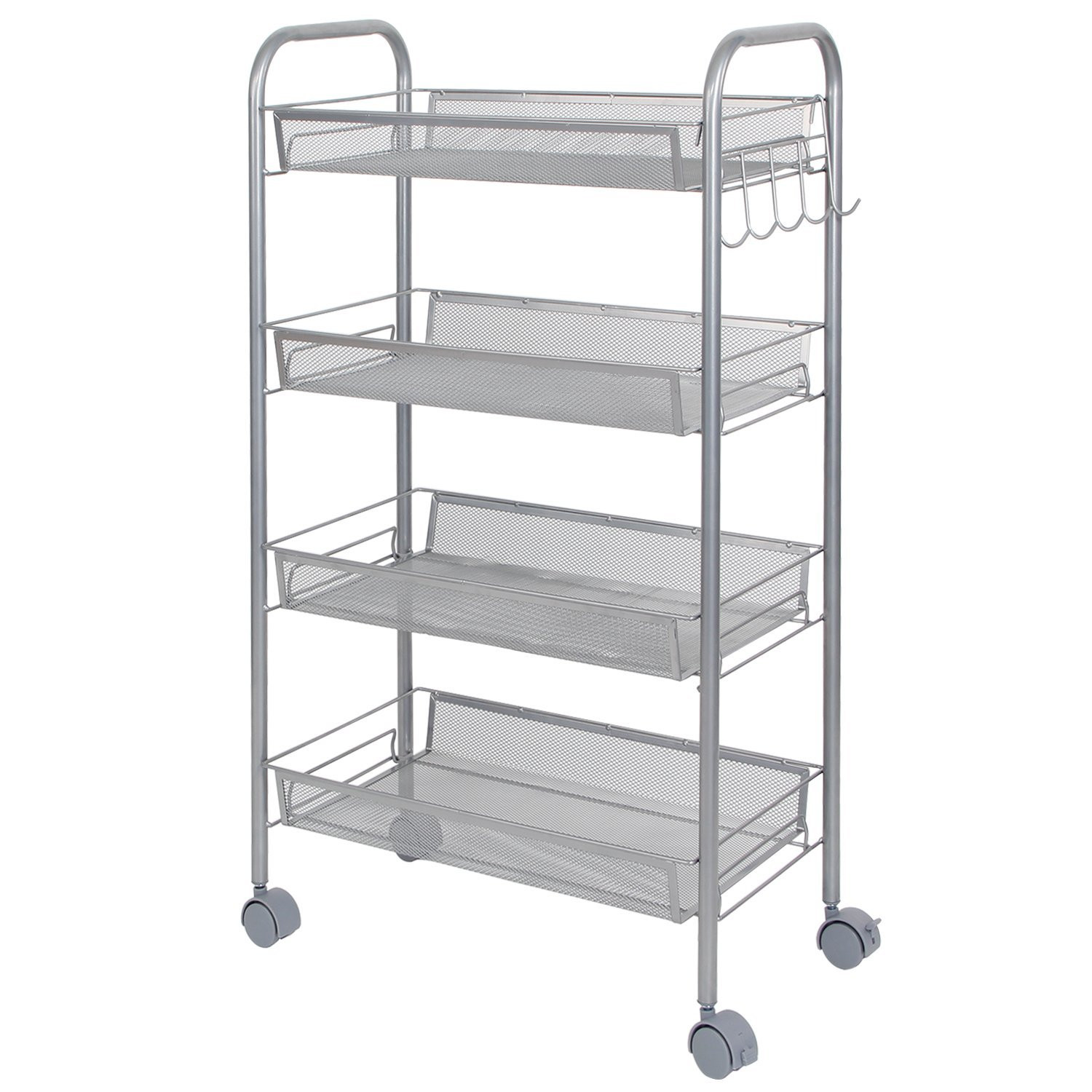 Lifewit 4 Tier Trolley Storage Metal Mesh Storage Wire Rolling Cart With 4  Baskets Shelf Shelving