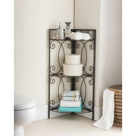 Sileas pewter metal transitional etagere 3 tier shelf free - Free standing corner bathroom shelves ...