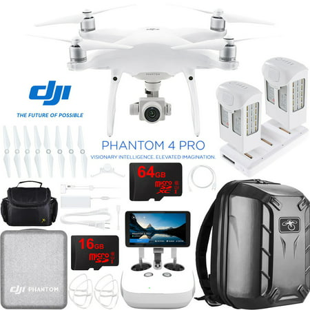 DJI Phantom 4 Pro+ Quadcopter Drone with the All-New DJI Phantom Camera Plus Extra High Capacity Battery + Charging Hub and Custom Backpack 64GB Memory Bundle (CP.PT.000549)