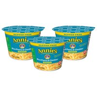 (3 Pack) Annie's Rice Pasta and Cheddar Micro Cup Mac and Cheese, 2.01 oz