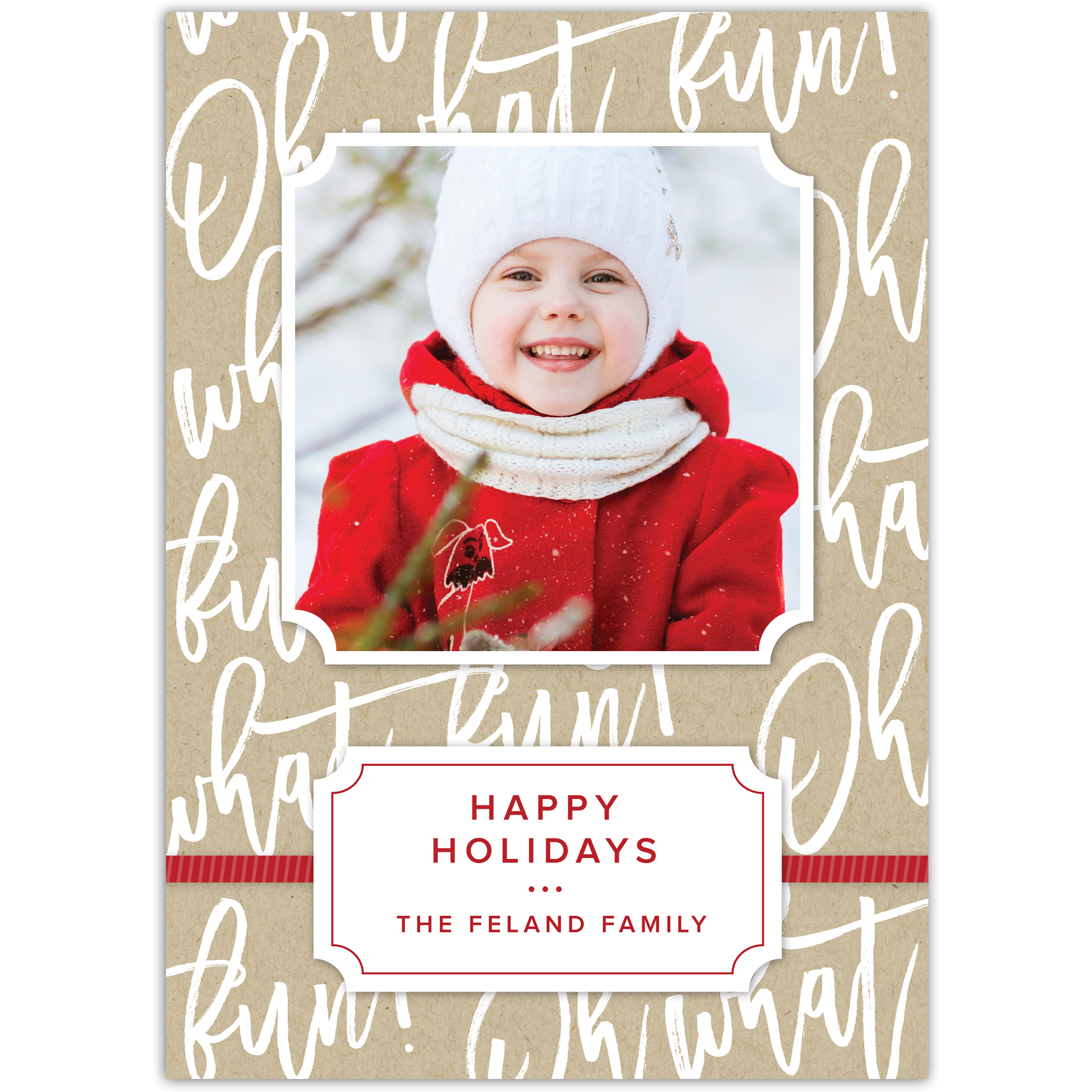 Whimsical Type - 5x7 Personalized Holiday Card