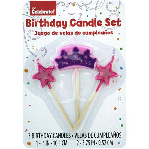 Way to Celebrate Princess Stick Birthday Candles, 3-Pack