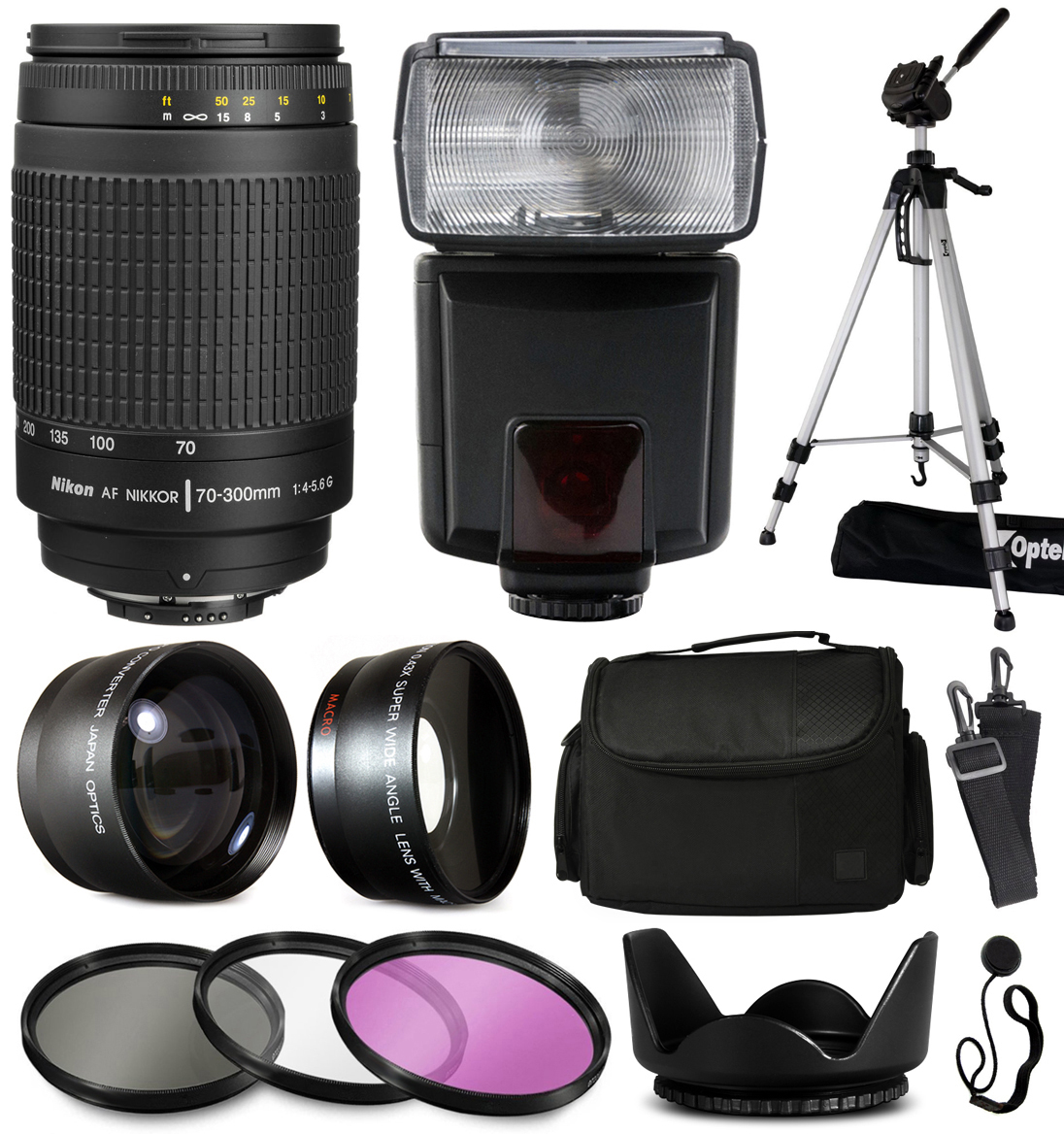 Nikon AF 70-300mm Manual Focus Lens+ Accessories with 2.2x & 0.43x Adapters + Flash + Tripod + Case + Filters... by Nikon