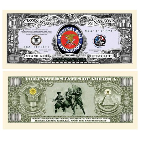 """NRA National Rifle Assoc Million Dollar Bill with Bonus """"Thanks a Million"""" Gift Card Set and Clear"""