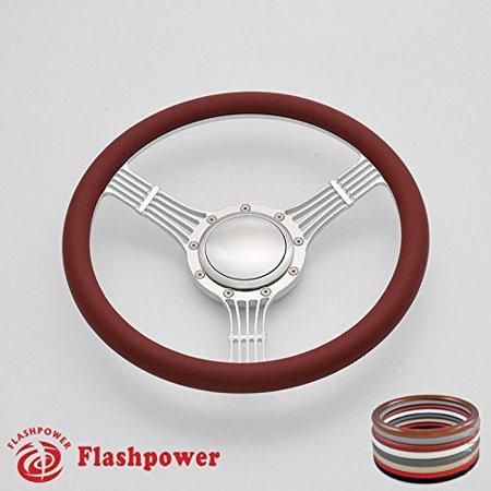 Banjo Wheel - Flashpower 14'' Billet Banjo Half Wrap Steering Wheel with 9 Bolts 2'' Dish and Horn Button(Burgundy)