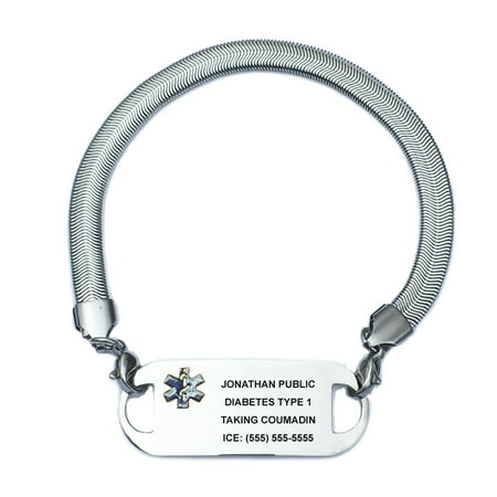 Custom Ink Bracelets (Ladies Chevron Stainless Steel Medical Alert ID Bracelet with Engraving Plate.  Custom)