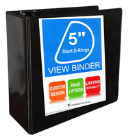 5 Inch Ring Binder With Slant D-Rings, Black, Clear View, Pockets