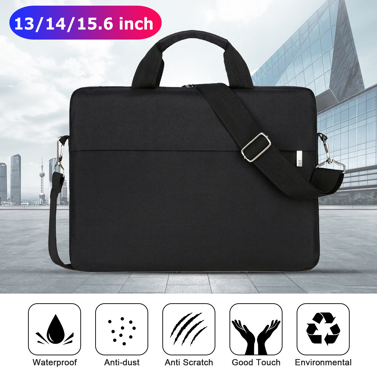 Black White and Golden Stars Laptop Sleeve Case Carring Light Computer Protector Notebook Bag with Adjustable Strap for 15 Inch-15.4 Inch Ultra-Bag