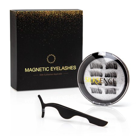 Silksence Dual Magnetic Eyelashes-0.2mm Ultra Thin Magnet-Lightweight & Easy to Wear-Best 3D Reusable Eyelashes Extensions With Tweezers