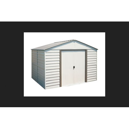 Arrow Milford Vinyl Coated Steel Storage Shed 7 in. H x 10 ft. W x 10 ft. D White