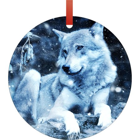 Christmas Wolf.Wolf In Whimsical Wintry Snowing Scene Round Shaped Flat Aluminum Semigloss Christmas Ornament Tree Decoration