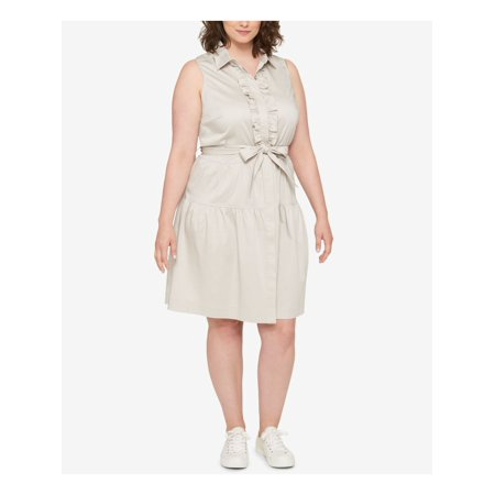 TOMMY HILFIGER Womens Beige Tie Short Sleeve Collared Above The Knee Fit + Flare Dress Plus  Size: 18W Cotton Ladies Dress Outfit