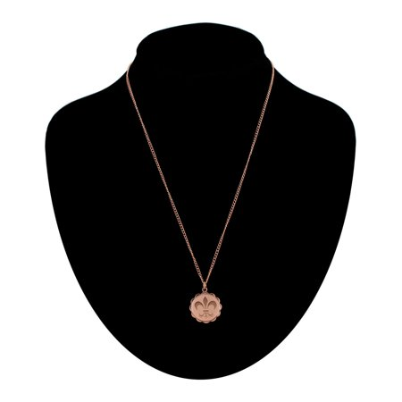 Rose Gold Tone French Fleur De Lis Scalloped Charm Pendant Necklace Made In USA