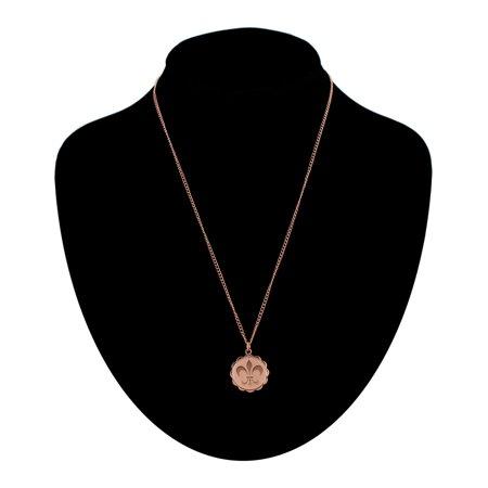 Rose Gold Tone French Fleur De Lis Scalloped Charm Pendant (Scallop Pendant Shell Pendant)