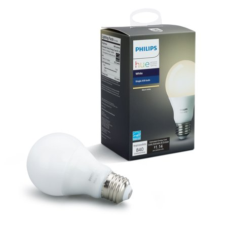 Philips Hue White A19 Smart Light Bulb, 60W LED,