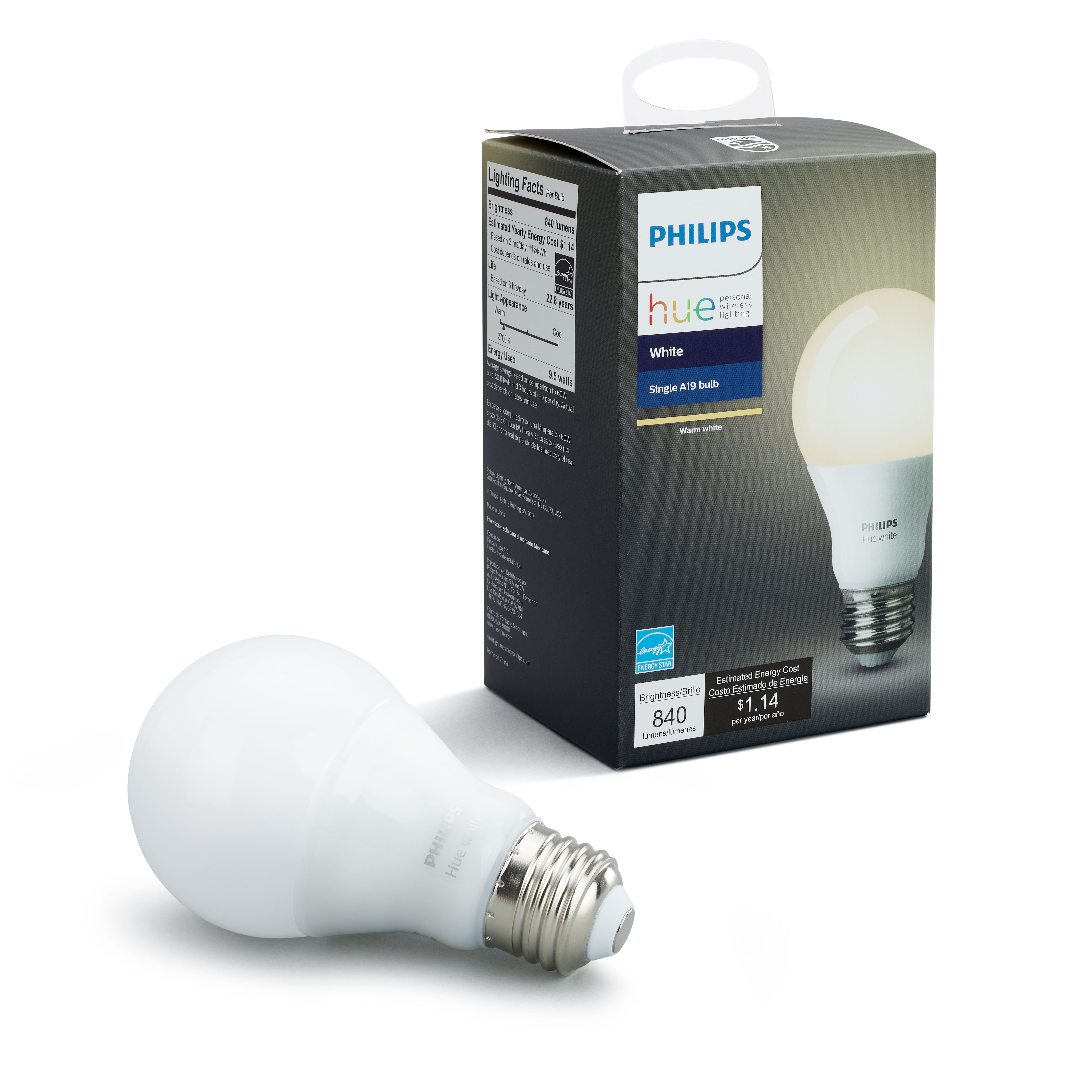 Philips Hue White Smart A19 Light Bulb, 60W Equivalent, Hub Required
