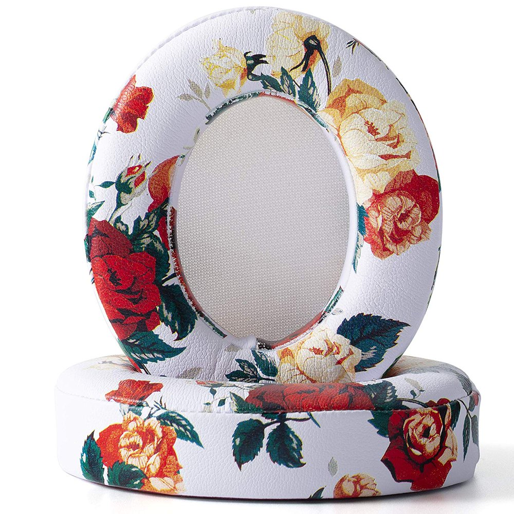 AGPtek Replacement Ear Pads Cushion for Beats by Dr. Dre Studio 2.0 3.0 Wired Wireless Headphone - White, Printed Flower