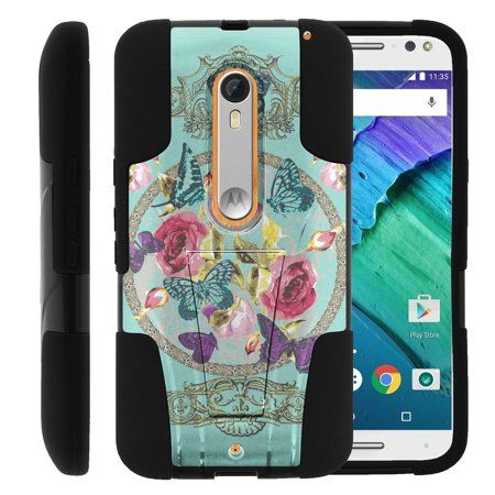 Motorola Moto X Style and Moto X Pure XT1575 STRIKE IMPACT Dual Layer Shock Absorbing Case with Built-In Kickstand - Royal Flower and Butterfly (Moto Combat X)