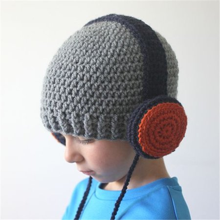 Children Headset Shaped Knitted Hat Winter Warmer Crochet Cap with Ropes