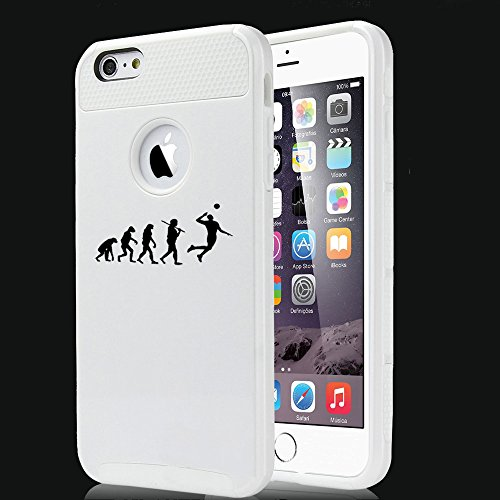 For Apple iPhone 7 Shockproof Impact Hard Soft Case Cover Evolution Volleyball (White)
