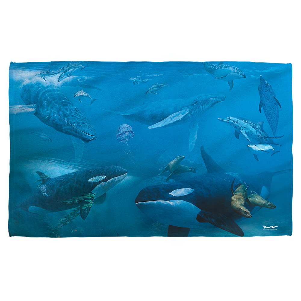 Wild Wings Whales 2 Beach Towel White 36X58