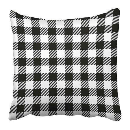 ECCOT White Plaid Gingham Tablecloth in Black Picnic Old Country Cooking Cook Graphic Pillowcase Pillow Cover 20x20