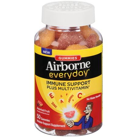 Airborne Tous les jours La vitamine C Soutien immunitaire et supplément de multivitamines, gélifiés, saveur de fruits assortis, 50 Count