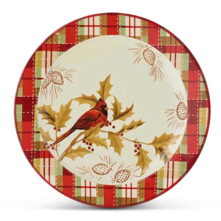 Cardinal and Plaid Ceramic Dinner Plate Spode Ceramic Plates