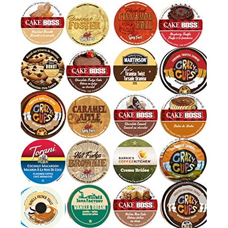20 Cup NEW! Delicious DESSERT Inspired Flavored Coffee Sampler! Chocolate Fudge Cake, Peanut Butter Banana Cream Pie, Cinnamon Roll ++ YUMMY! 20 UNIQUE