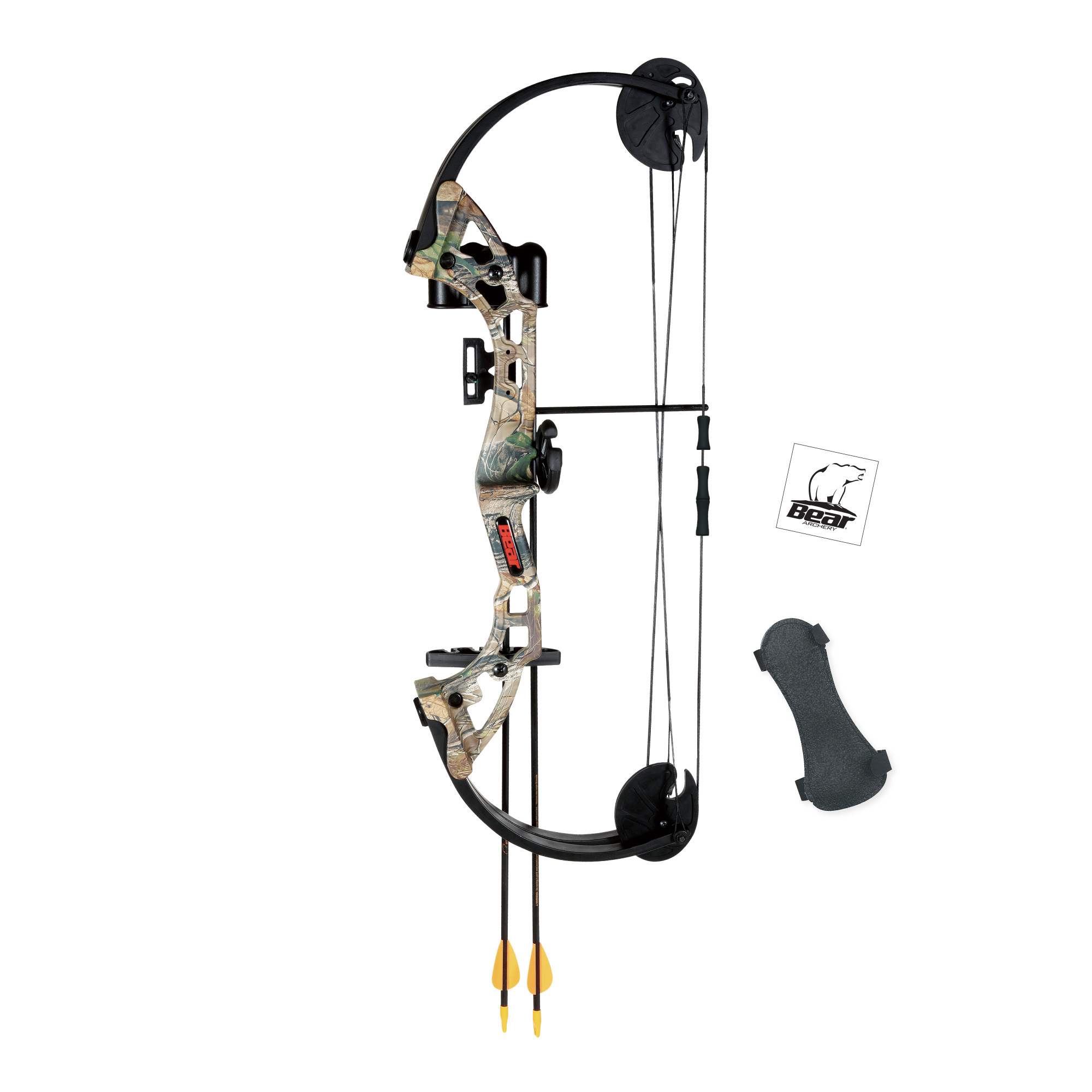 Bear Archery Warrior Youth Bow Includes Trophy Ridge Whisker Biscuit, Armguard, Quiver, and Arrows Recommended for Ages 11 and Up