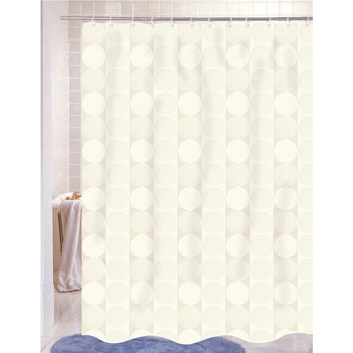 Carnation Home Fashions Jacquard Circle Vertical Stripe Fabric Shower Curtain