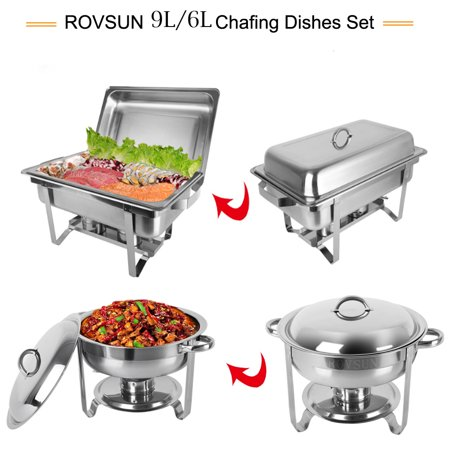 Zimtown 5QT/8QT Full Size Stainless Steel Chafing Dish with Water Pan and Chafing Fuel Holder, Complete Chafer - Chafing Dish Holder