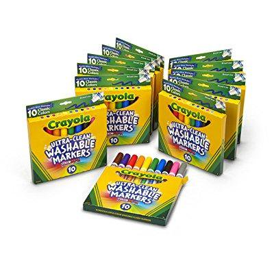 Crayola  Ultra Clean  Broad Line Markers  Art Tools  12 Packs Of 10 Ct  Markers  Bright  Bold Washable Colors