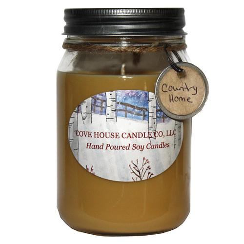 Scented Tan 16-ounce Canning Jar Soy Candle 16oz Country Home