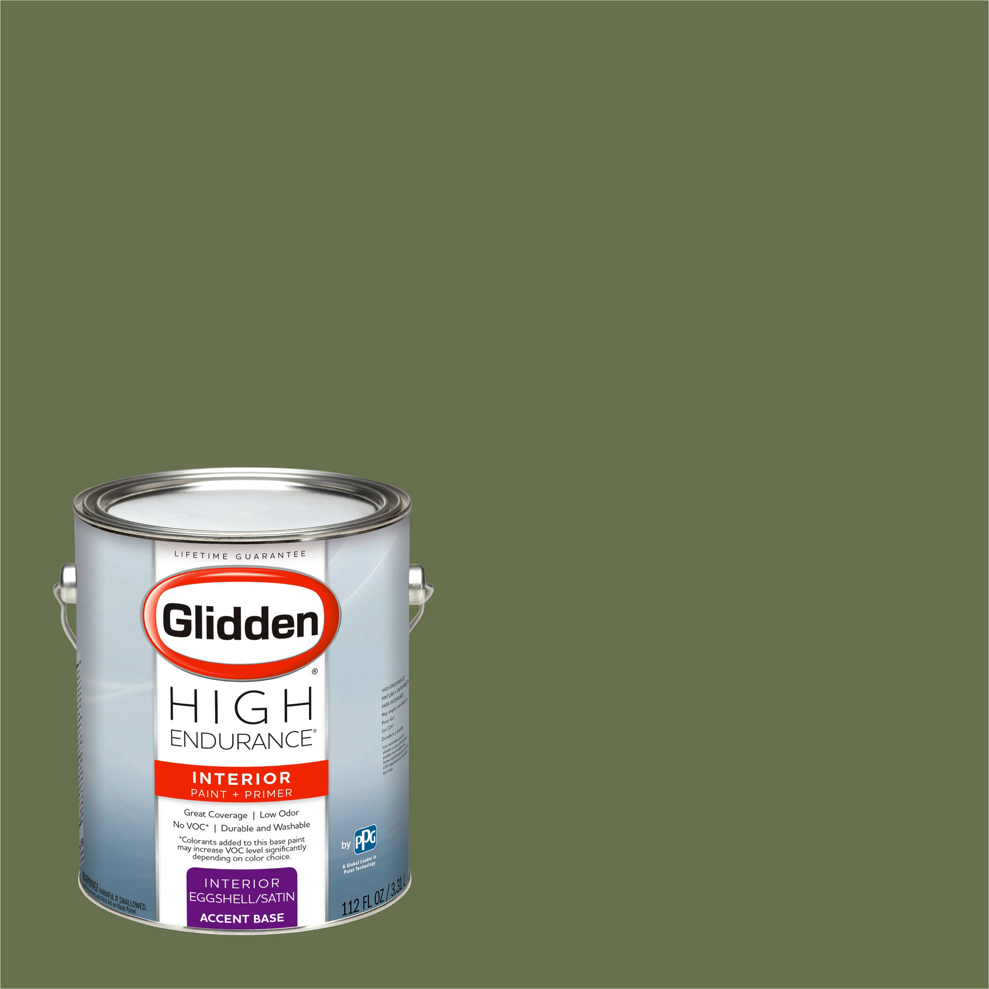 Glidden High Endurance, Interior Paint and Primer, Afternoon Martini Olive, # 10GY 15/213