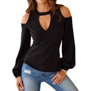 STARVNC Women Hollow Out Cold Shoulder Long Sleeve Tops